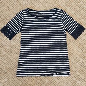 LOFT nautical stripe short sleeve with crochet